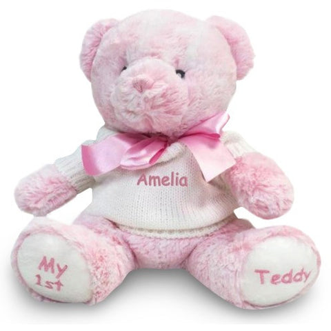 Personalized Baby Gift - Baby's First Teddy Bear - Pink, 12 Inch