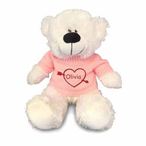 Personalized Valentine's Heartstruck Snuggle Teddy Bear - White with Pink Sweater, 12 inch
