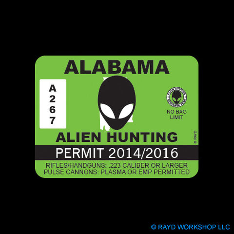 Alabama Alien Hunting Permit Self Adhesive Sticker