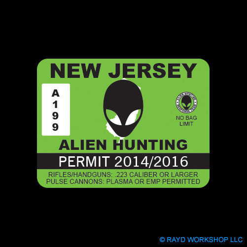 New Jersey Alien Hunting Permit Self Adhesive Sticker
