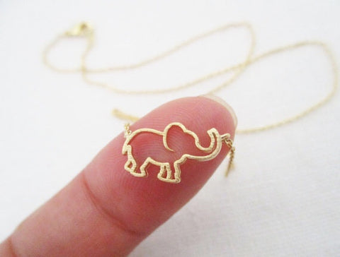 Baby Elephant Outline Necklace