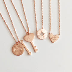 Rose Gold Love Key Necklace