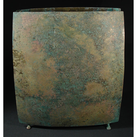David M. Bowman Studio Square Vase Shown in Mottled, Artistic Artisan Designer Patinaed Brass Vases