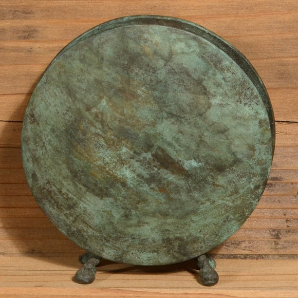 David M. Bowman Studio Round Vase in Dark Green, Artistic Artisan Designer Patinaed Brass Vases