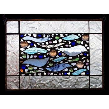 Edel Byrne Clear Texture Border Wave Stained Glass Panel, Artistic Artisan Designer Stain Glass Window Panels
