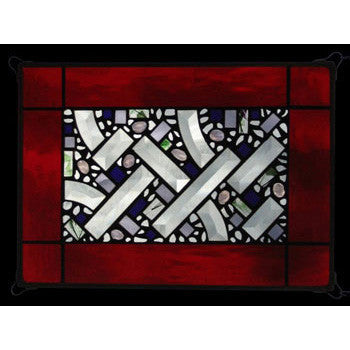 Edel Byrne Red Water Border Geometric Stained Glass Panel-1, Artistic Artisan Designer Stain Glass Window Panels