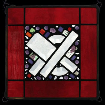 Edel Byrne Red Water Border Geometric Stained Glass Panel, Artistic Artisan Designer Stain Glass Window Panels