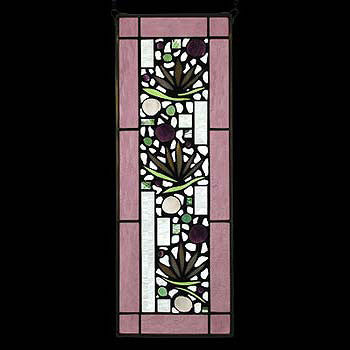 Edel Byrne Rose Border Floral Stained Glass Panel-1, Artistic Artisan Designer Stain Glass Window Panels