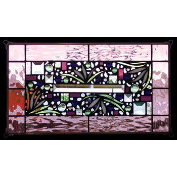Edel Byrne Rose Border Floral Stained Glass Panel, Artistic Artisan Designer Stain Glass Window Panels