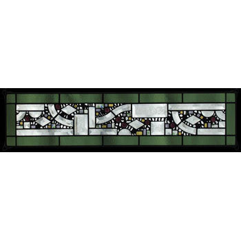 Edel Byrne Sage Border Geometric Stained Glass Panel-1, Artistic Artisan Designer Stain Glass Window Panels