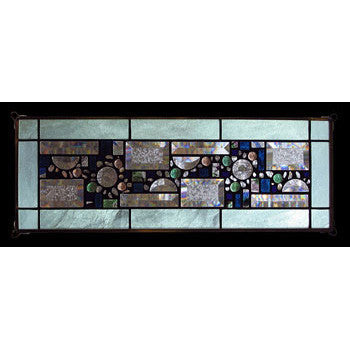 Edel Byrne Sea Green Opalescent Border Geometric Stained Glass Panel, Artistic Artisan Designer Stain Glass Window Panels