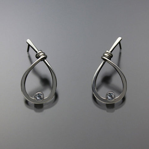 John Tzelepis Jewelry Sterling Silver Aquamarine Earrings EAR190SMAQ-1 Handcrafted Artistic Artisan Designer Jewelry
