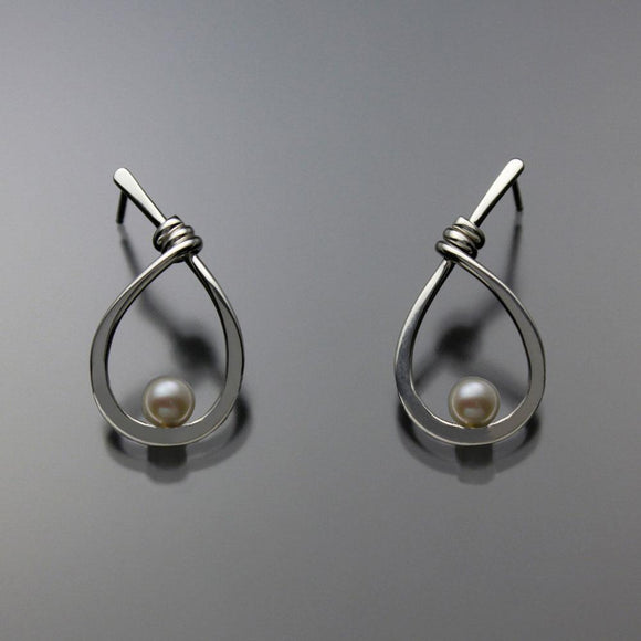 John Tzelepis Jewelry Sterling Silver White Pearl Earrings EAR190SMPW-1 Handcrafted Artistic Artisan Designer Jewelry