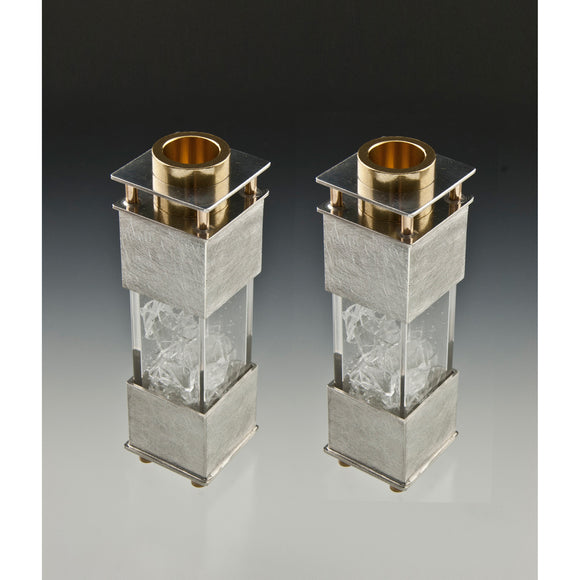 Joy Stember Metal Arts Studio Candle Holders 168 Wedding Shard, Artistic Artisan Designer Judaica
