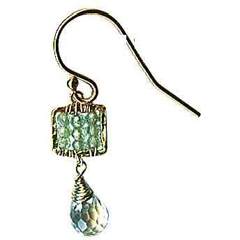 Michelle Pressler Box Earrings 4244 B B with Green Kyanite and Aquamarine Briolet Artistic Artisan Designer Jewelry