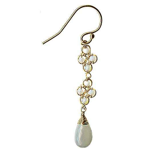 Michelle Pressler Clovers Earrings 4716 with Australian Opal and Grey Moonstone Artistic Artisan Designer Jewelry