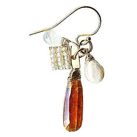 Michelle Pressler Clusters Earrings 5012 A with Orange Kyanite Mix Artistic Artisan Designer Jewelry