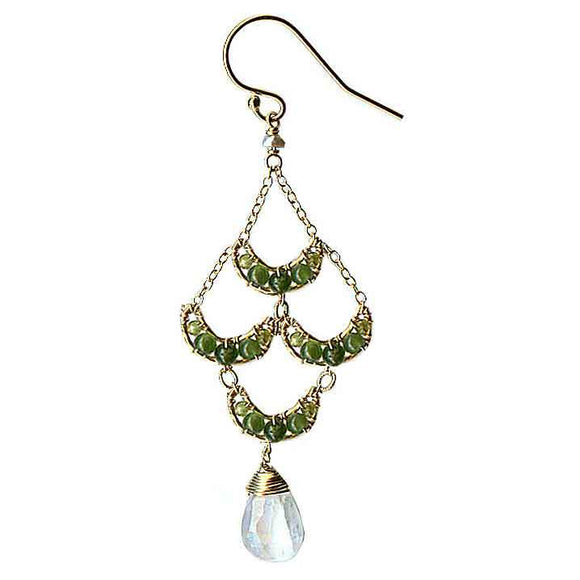 Michelle Pressler Crescent Earrings 4210 A with Green Jade and Moonstone Artistic Artisan Designer Jewelry