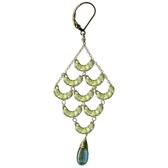 Michelle Pressler Crescent Earrings 4210 with Lemon Chalcedony and Blue Green Kyanite Artistic Artisan Designer Jewelry