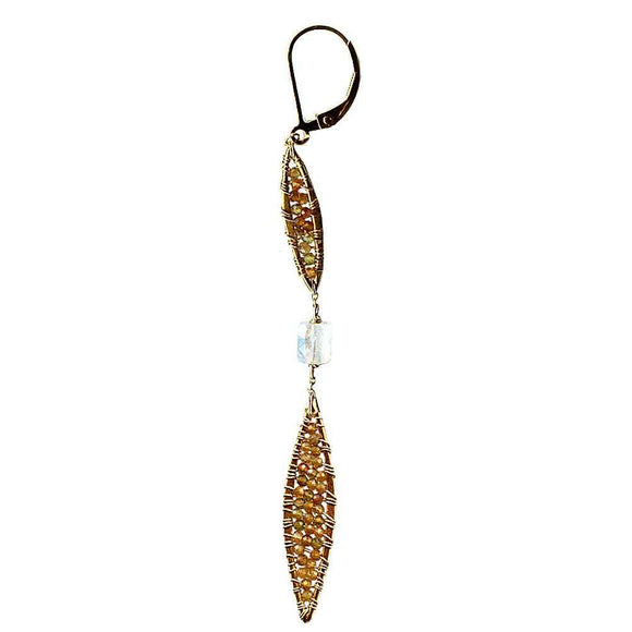 Michelle Pressler Feathers Earrings 4840 with Multicolored Tourmaline and Moonstone Artistic Artisan Designer Jewelry