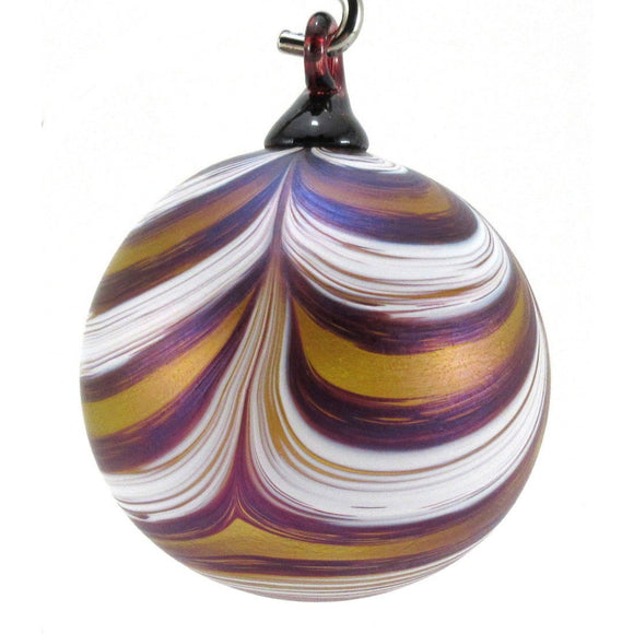The Furnace Glassworks Ribbon Ornament Shown In Splash of Gold Artisan Handblown Art Glass Ornaments