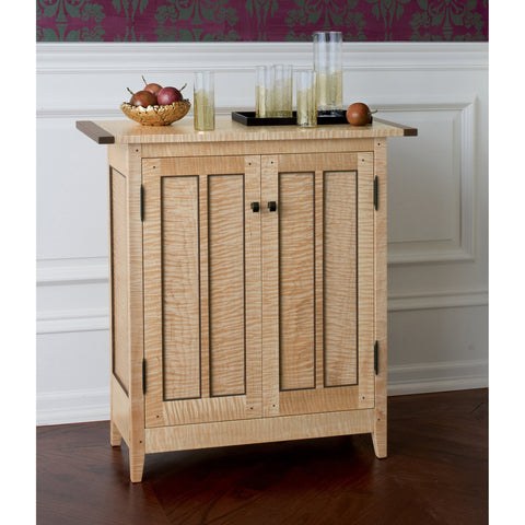 Thomas William Furniture Tiger Maple Side Cabinet, Artistic Artisan Designer Side Cabinets