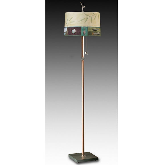 Janna Ugone and Co. Copper Floor Lamp  FLG862-C with Large Drum Shade