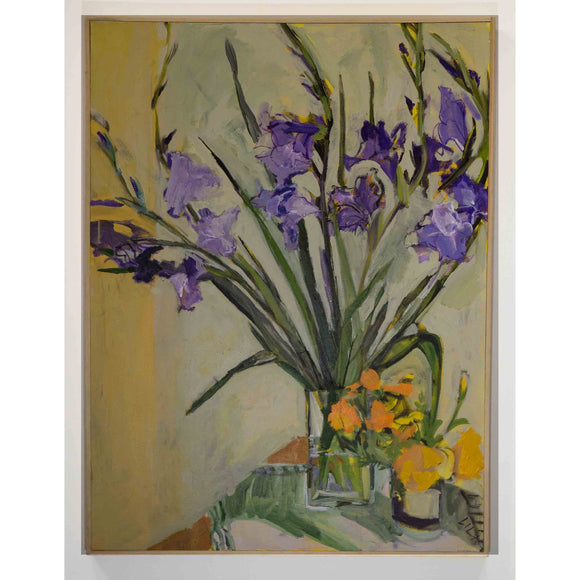 Lila Bacon Floral Painting on Canvas Purple Gladiolas c-lb194