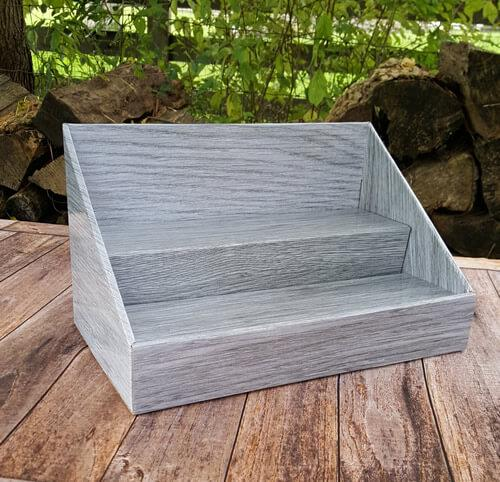 Cardboard Counter Display - Gray Wood