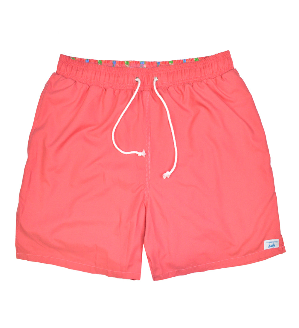 Solid Coral Swim Trunks