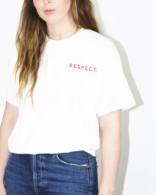 Double Trouble Gang:R.E.S.P.E.C.T Tee – Red on White Embroidery,ANOMIE
