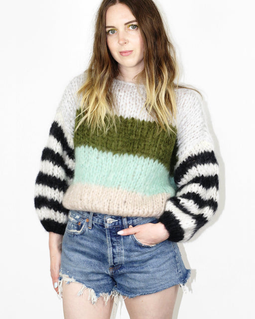 Maiami:Mohair Big Striped Sweater – Greenish Stripes,ANOMIE