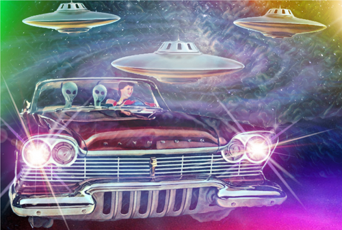Sci-Fi Pop Art Poster of Space Aliens from Planet Claire in Plymouth Satellite