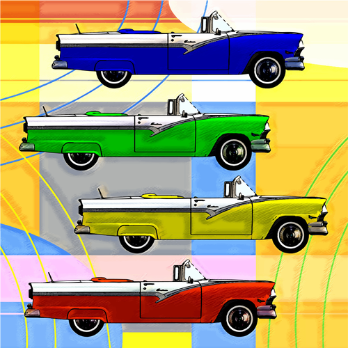 POP ART of Classic 1950's Cars for Kids Room