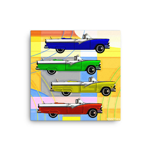 POP ART print on canvas of Classic 1950's Cars