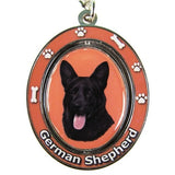 German Shepherd Black Dog Spinning Keychain