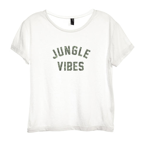 JUNGLE VIBES W/ SNAKESKIN TEXT [DISTRESSED WOMEN'S 'BABY TEE']