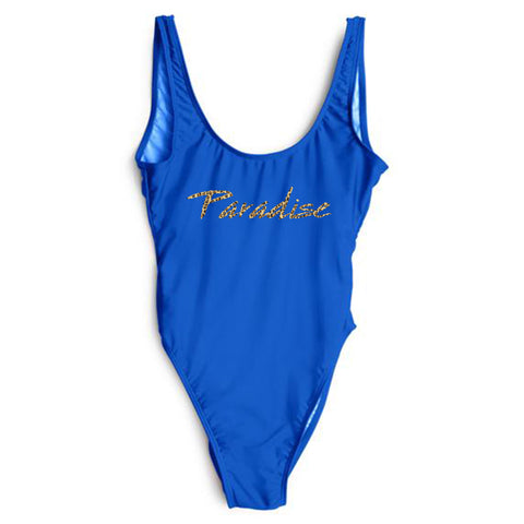 PARADISE W/ CHEETAH TEXT TEXT [SWIMSUIT]
