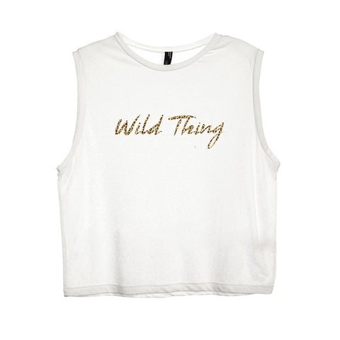 WILD THING W/ CHEETAH TEXT TEXT TEXT [WOMEN'S MUSCLE TANK]