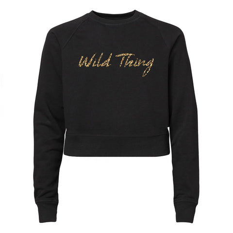 WILD THING W/ CHEETAH TEXT [WOMEN'S RAGLAN CROP CREWNECK SWEATSHIRT]