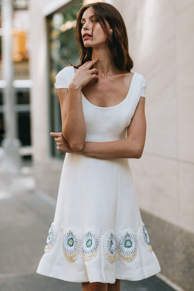 Multi Seam Scoop Neck Dress with Cap Sleeve with Bottom Ruffle Custom Embroidery
