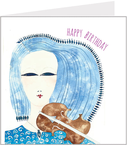 birthday card with violin