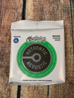 C.F. Martin Guitars Strings Martin MA550S Authentic Acoustic Marquis® Silked Medium Phosphor Bronze Acoustic Guitar Strings