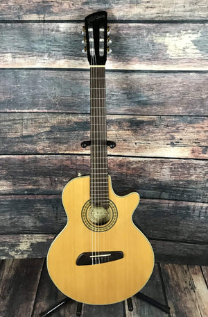 washburn Acoustic Guitar Used Washburn NV100C USA Custom Shop Thin Line Acoustic Electric Classical Guitar with Bag