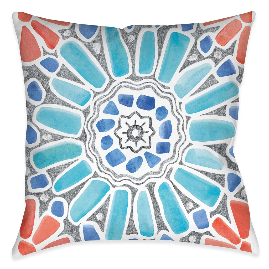 "The ""Coastal Mosaic II Indoor Decorative Pillow"" features a modern must-have mosaic design. The eclectic balance of coral, aqua and grey colors exposes its artistic rendering giving it a unique flare inspired by traditional mosaic tile designs."