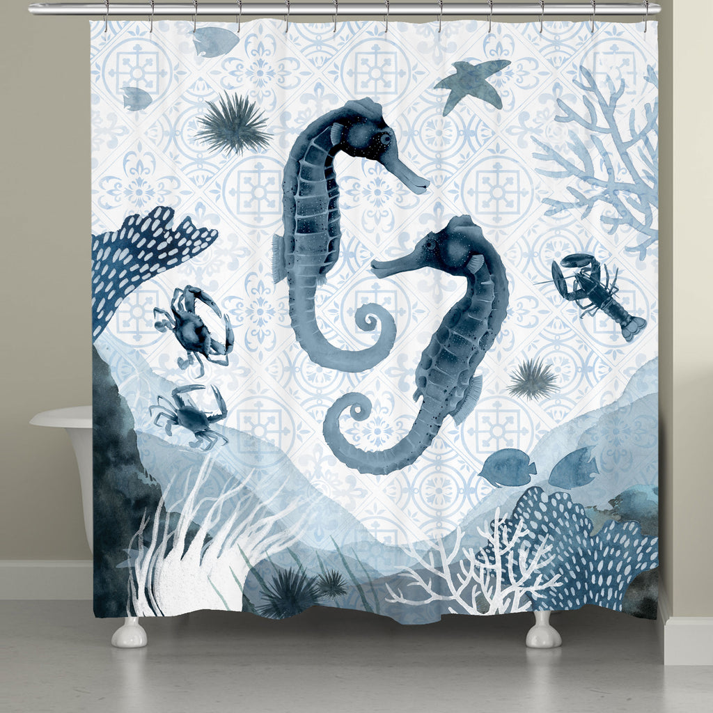 "The ""Moroccan Marina Shower Curtain"" features seahorses and jellyfish on a printed indigo tonal pattern combining beautiful Moroccan inspired mosaic tiles with interlacing coastal scenic motifs. This trendy watercolor coastal series is a sophisticated deep sea concept that is sure to enhance your home decor."