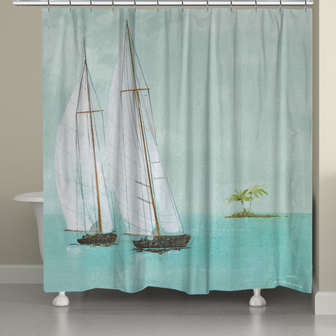 Tropical Sailboats Shower Curtain