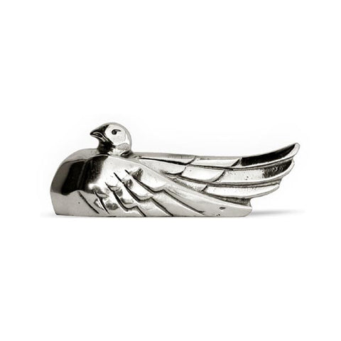 Art Nouveau-Style Columba Dove Knife Rest - 7.5 cm Length - Handcrafted in Italy - Pewter