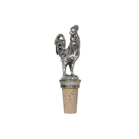 Combo Rooster Statuette Bottle Stopper - 11.5 cm Height - Handcrafted in Italy - Pewter/Britannia Metal & Cork