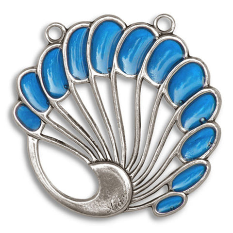 Levinger Shell Pendant (Sapphire) - 5.5 cm - Handcrafted in Italy - Pewter/Britannia Metal
